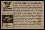 1954 Bowman U.S. Navy Victories #28   Decatur Burns the Philadelphia Back Thumbnail