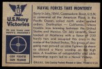 1954 Bowman U.S. Navy Victories #13   Naval Forces take Monterey Back Thumbnail