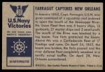 1954 Bowman U.S. Navy Victories #31   Farragut captures New Orleans Back Thumbnail