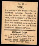 1947 Goudey Indian Gum #73   Steel Back Thumbnail