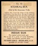 1947 Goudey Indian Gum #65   Kishkalwa Back Thumbnail