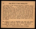 1941 Gum Inc. War Gum #37   Japanese Kill U.S. Hero Bailing Out Back Thumbnail
