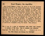 1941 Gum Inc. War Gum #68   Boyd Wagner The Japanese Killer Back Thumbnail