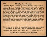 1941 Gum Inc. War Gum #119   Melnik The Cossack Back Thumbnail