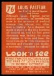 1952 Topps Look 'N See #76  Louis Pasteur  Back Thumbnail