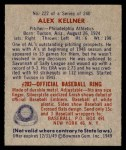 1949 Bowman #222  Alex Kellner  Back Thumbnail