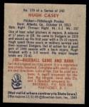 1949 Bowman #179  Hugh Casey  Back Thumbnail