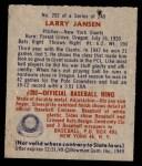 1949 Bowman #202  Larry Jansen  Back Thumbnail