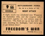 1950 Topps Freedoms War #66   Night Attack   Back Thumbnail