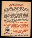 1949 Bowman #3  Bob Porterfield  Back Thumbnail