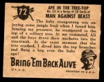 1950 Topps Bring Em Back Alive #72   Ape In The Tree-Top Back Thumbnail