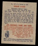 1949 Bowman #107  Eddie Lake  Back Thumbnail
