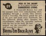 1950 Topps Bring Em Back Alive #89   Hero Of The Swamp Back Thumbnail