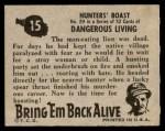 1950 Topps Bring Em Back Alive #15   Hunter's Boast Back Thumbnail