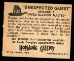 1950 Topps Hopalong Cassidy #102   Investigations halted Back Thumbnail