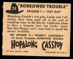 1950 Topps Hopalong Cassidy #24   Pay day Back Thumbnail