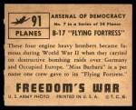 1950 Topps Freedoms War #91   B-17 Flying Fortress   Back Thumbnail
