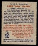 1949 Bowman #167  Boris Martin  Back Thumbnail