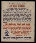 1949 Bowman #197  Johnny Lindell  Back Thumbnail