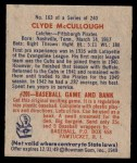 1949 Bowman #163  Clyde McCullough  Back Thumbnail