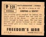 1950 Topps Freedoms War #159   Jumping Sentry  Back Thumbnail