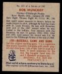 1949 Bowman #221  Bob Muncrief  Back Thumbnail
