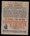 1949 Bowman #225  Gerry Coleman  Back Thumbnail
