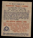 1949 Bowman #240  Babe Young  Back Thumbnail