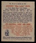 1949 Bowman #85 NAM Johnny Mize  Back Thumbnail