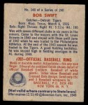 1949 Bowman #148  Bob Swift  Back Thumbnail