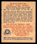 1949 Bowman #60  Yogi Berra  Back Thumbnail