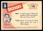 1959 Fleer Three Stooges #86   Round and Round She Goes  Back Thumbnail