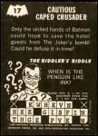 1966 Topps Batman -  Riddler Back #17 RID  Cautious Caped Back Thumbnail