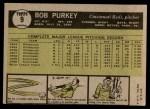 1961 Topps #9  Bob Purkey  Back Thumbnail