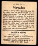 1947 Goudey Indian Gum #34   Marauders Back Thumbnail