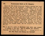 1941 Gum Inc. War Gum #65   Commando Raid On St. Nazaire Back Thumbnail