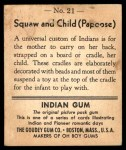 1947 Goudey Indian Gum #21   Squaw And Child Back Thumbnail