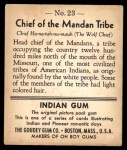 1947 Goudey Indian Gum #23   Mandan Tribe Back Thumbnail