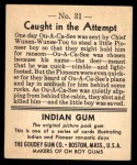 1947 Goudey Indian Gum #31   Caught In The Attempt Back Thumbnail