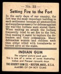 1947 Goudey Indian Gum #33   Setting Fire To The Fort Back Thumbnail