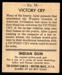 1947 Goudey Indian Gum #54   Victory Cry Back Thumbnail