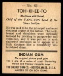 1947 Goudey Indian Gum #62   Toh-Ki-Ee-To Back Thumbnail