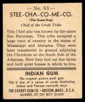 1947 Goudey Indian Gum #63   Stee-Cha-Co-Me-Co Back Thumbnail