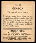 1947 Goudey Indian Gum #64   Genitoa Back Thumbnail