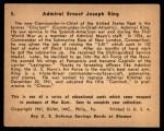 1941 Gum Inc. War Gum #5   Admiral Ernest Joseph King Back Thumbnail