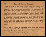 1941 Gum Inc. War Gum #19   General George Marshall Back Thumbnail
