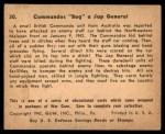 1941 Gum Inc. War Gum #30   Commandos Bag Japanese General Back Thumbnail