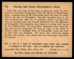 1941 Gum Inc. War Gum #72   Daring Sub Saves Corregidor's Gold Back Thumbnail