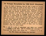 1941 Gum Inc. War Gum #74   Cologne Devastated By 1250 R.A.F. Warplanes Back Thumbnail