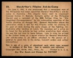 1941 Gum Inc. War Gum #80   Macarthur's Filipino Aid-De-Camp Back Thumbnail